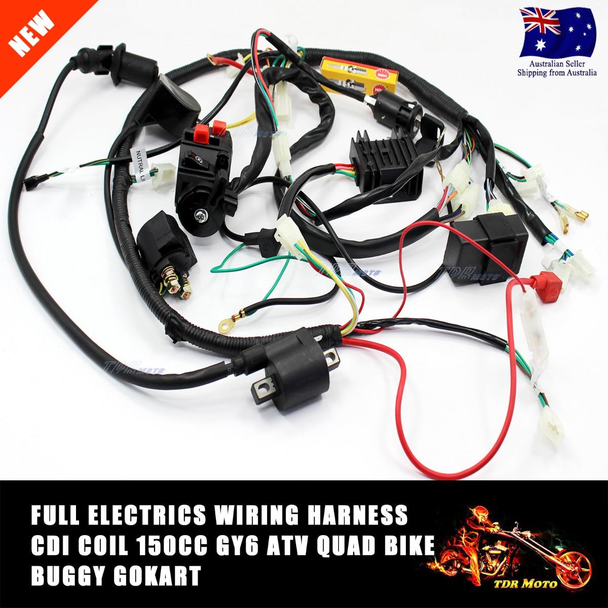 Backup camera wiring harness besides yamaha yzf 600 wiring diagram - Gy6 150cc Full Auto Cvt Clutch Engine Carburetor Wiring Loom Harness Set Ebay