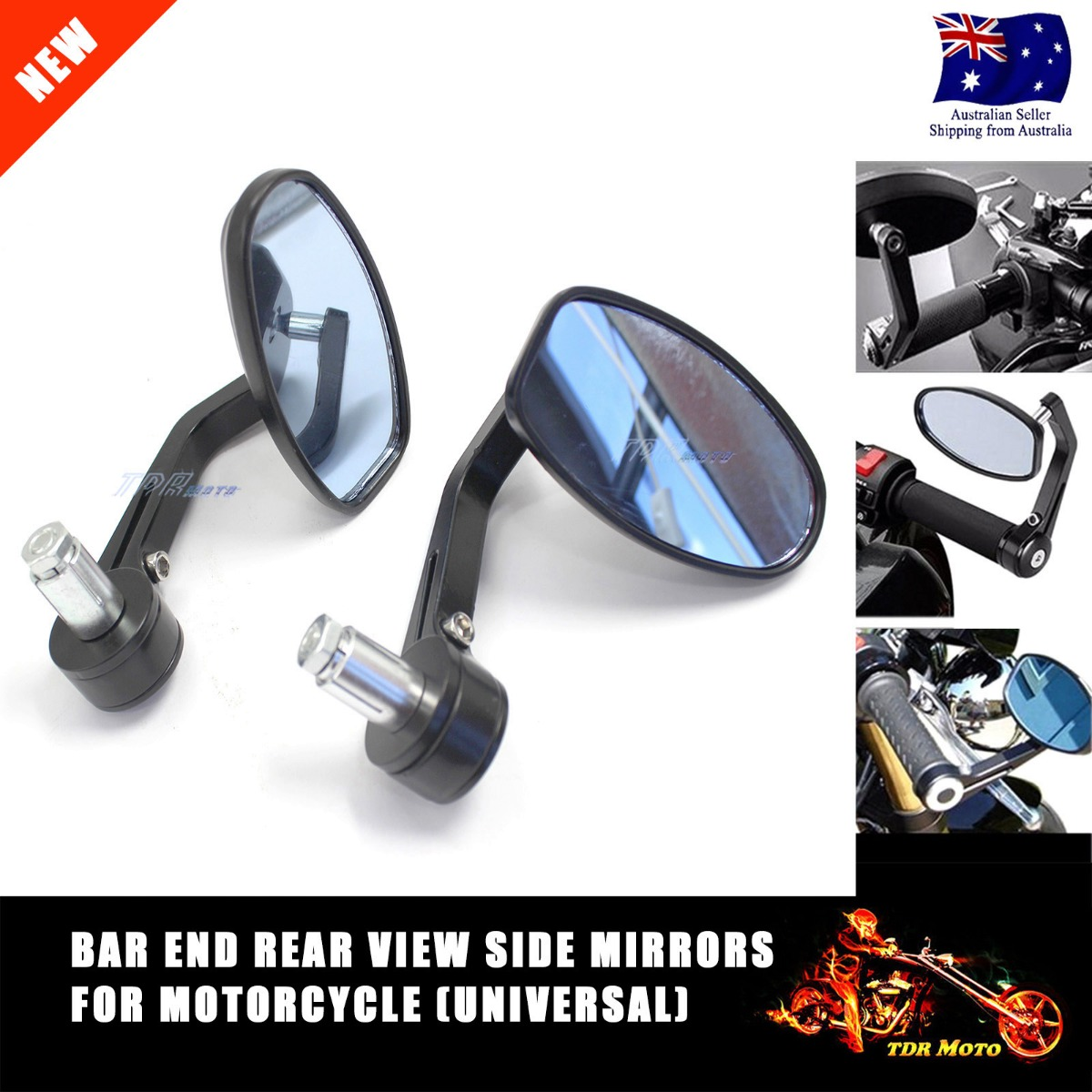 Bar End Rear View Side Mirrors Motorcycle Alumi Alloy