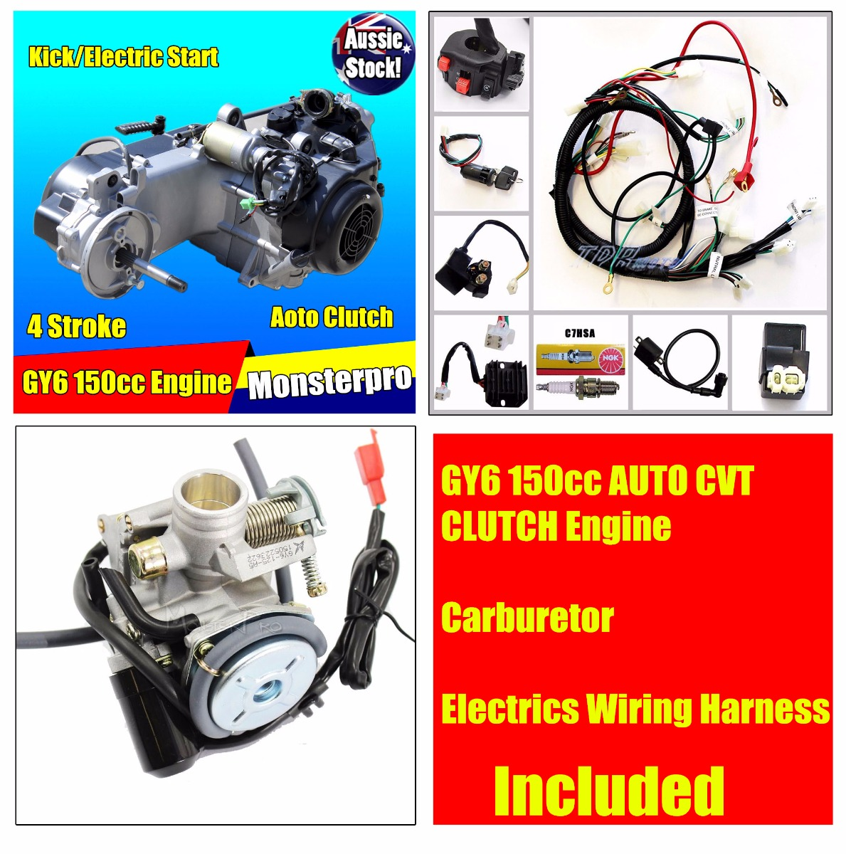 Carburetor Wiring Harness Complete Electrics Gy Cc Full Auto Cvt Clutch Engine Loom Gy6 150cc