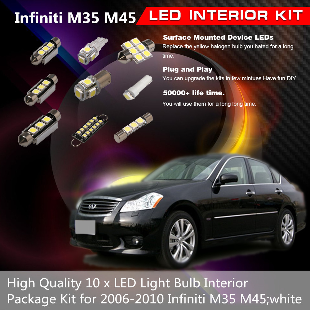 10 x white led light bulb interior package kit for 2006 2010 does not apply vanachro Images