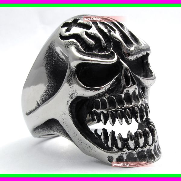 Mens-Biker-Huge-Skull-Cross-Fire-316L-Stainless-Steel-Ring-Size-12-UK-Y