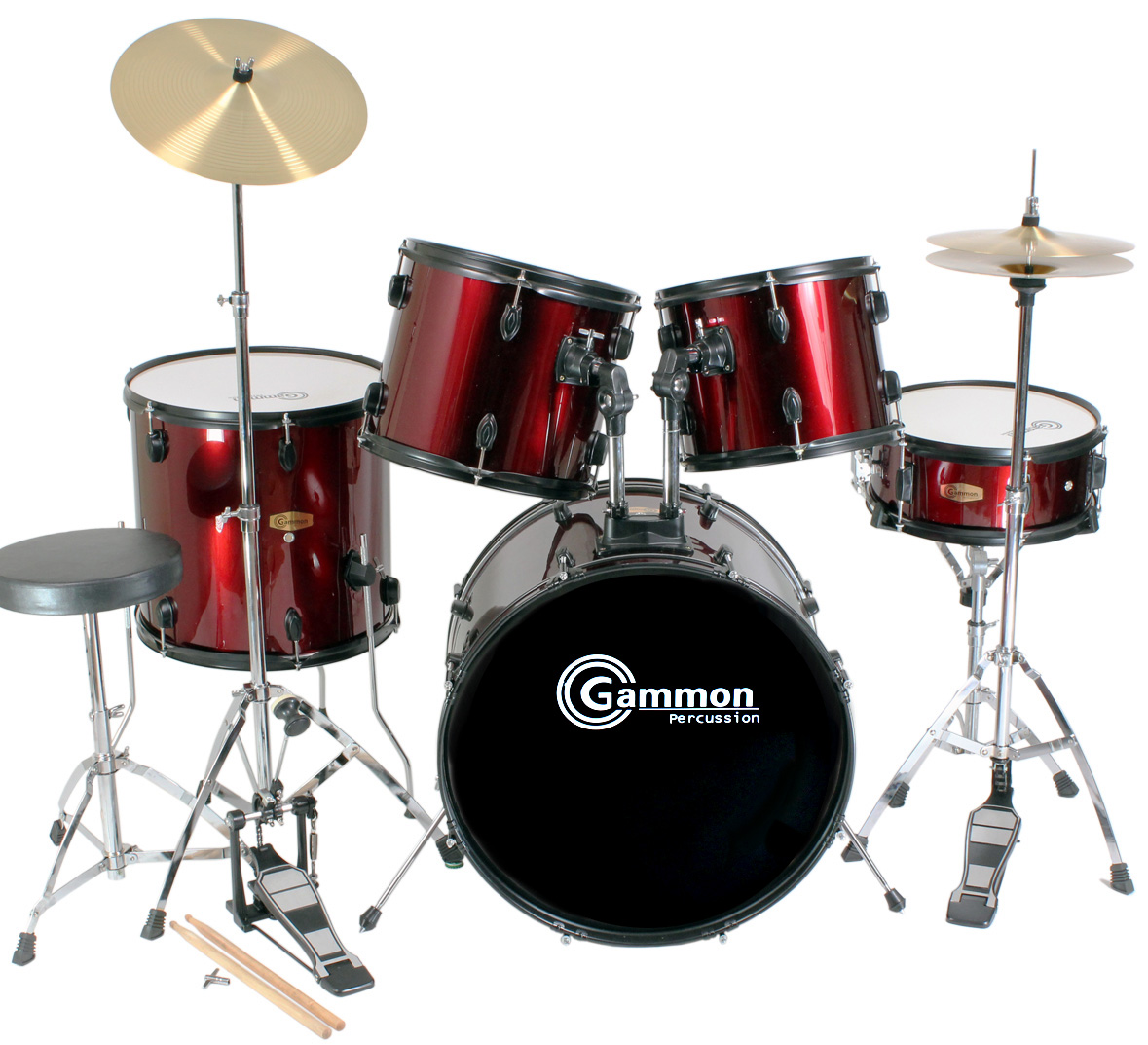 New-COMPLETE-5-Piece-ADULT-DRUM-SET-CYMBALS-FULL-SIZE-with-Cymbals-Stands-Sticks