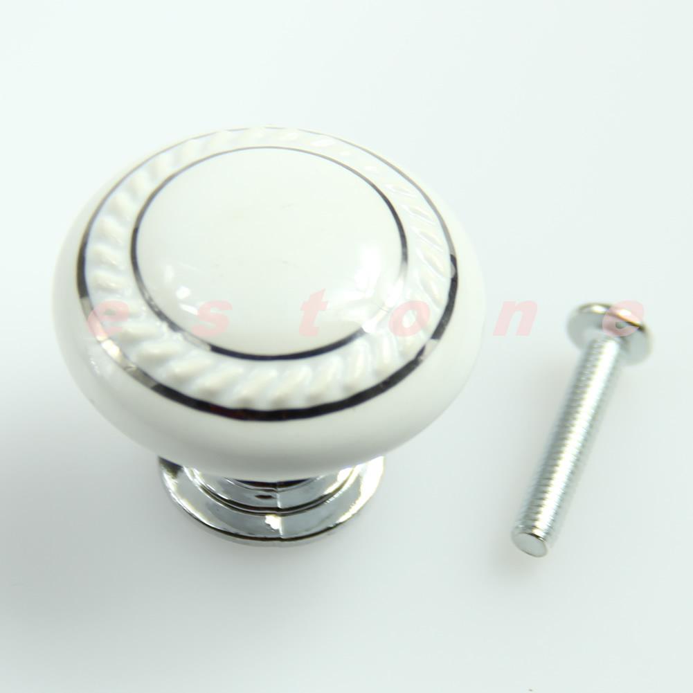 White Ceramic Crystal Glass Door Knob Drawer Cabinet Kitchen Wardrobe