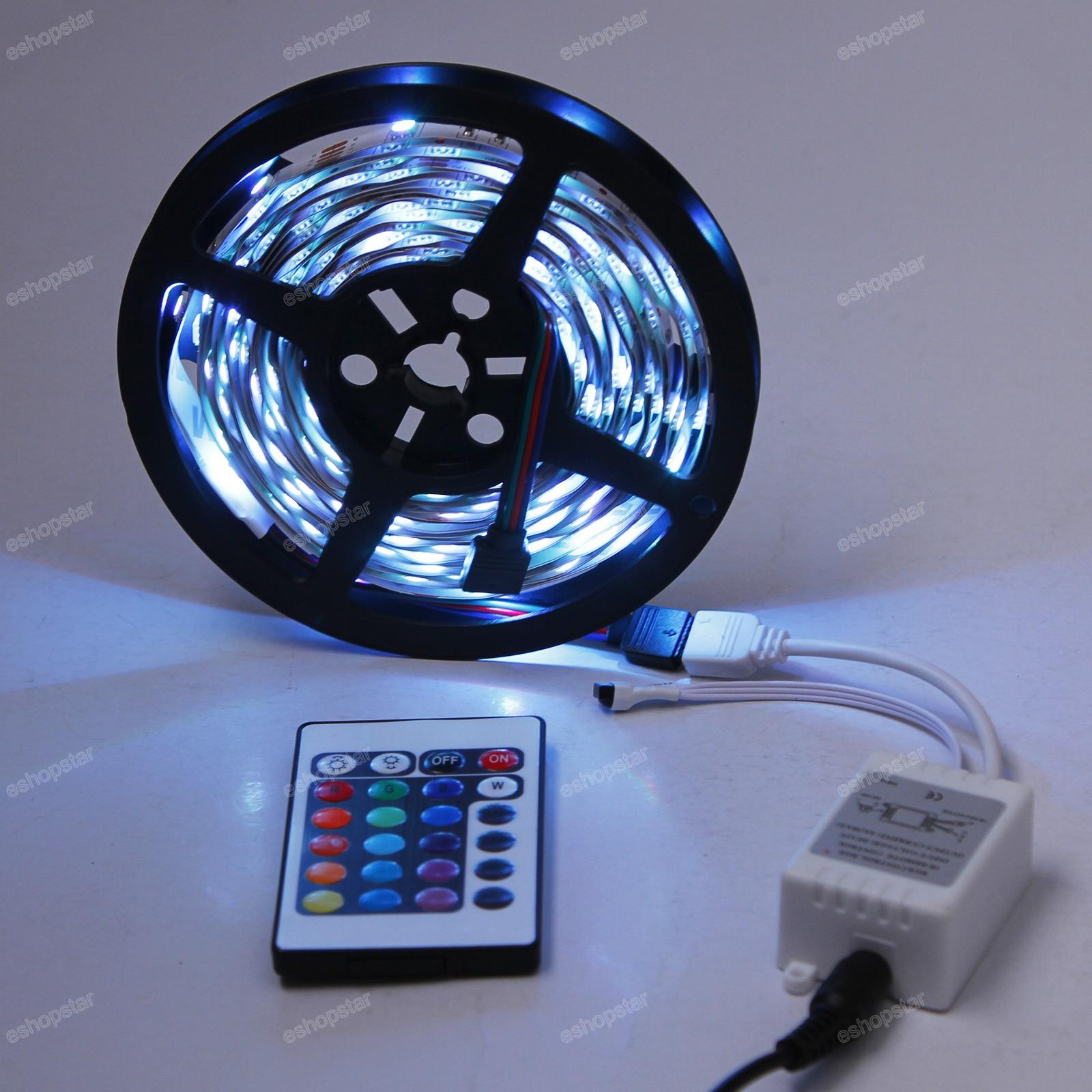 5m 5050 smd dj strip lights 150 led rgb 24 ir remote car. Black Bedroom Furniture Sets. Home Design Ideas