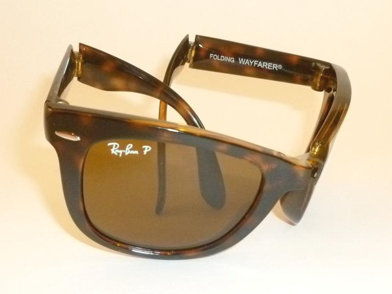 New-RAY-BAN-FOLDING-WAYFARER-Tortoise-Frame-RB-4105-710-57-Polarized-Brown