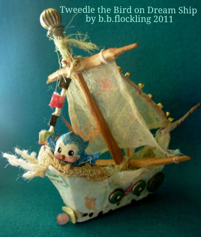 Tweedle bird on his paper mache toy ship by b.b.flockling, dollmaking