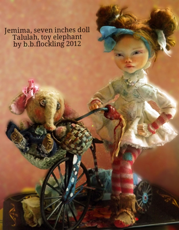 Jemima girl doll and Talulah elephant toy by b.b.flockling, dollmaking