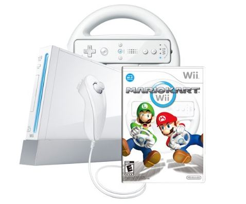 Wii Console with Mario Kart Wii Bundle White by Nintendo RARE Brand