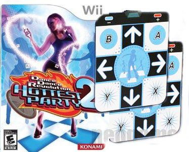 Wii-Dance-Revolution-Hottest-Party2-Game-2x-Non-Slip-Dance-Pads-BUNDLE