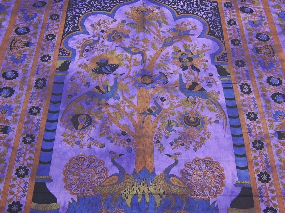 ... Peacock Cotton Tapestry Tree of Life Purple Bed Sheet Wall Hanging