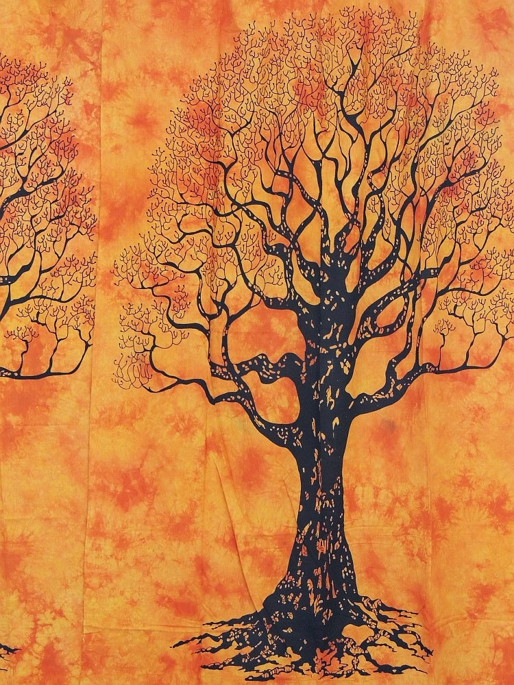 Tree of life curtains cotton hand printed 2 ethnic window coverings treatments ebay