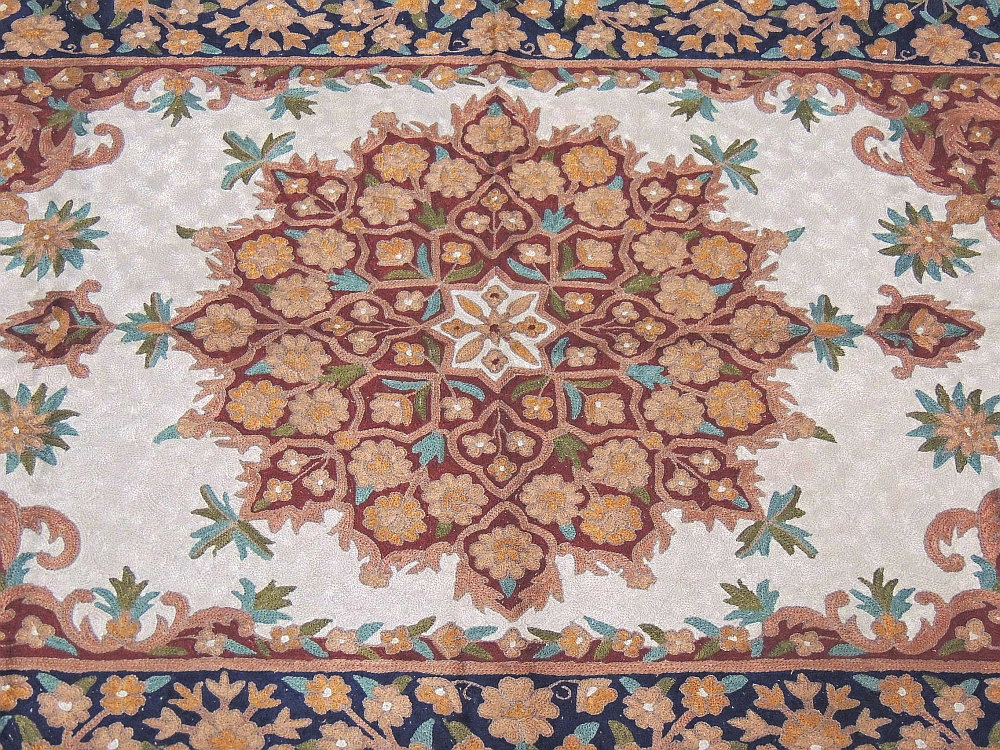Chain Stitch Embroidered Rug Floral Kashmir Wall Carpet