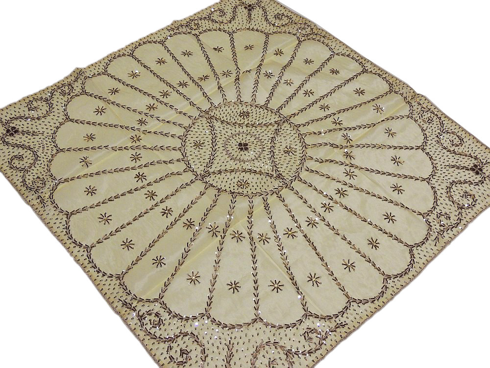 Gold Indian Table Topper Square Fine Luxury Handmade