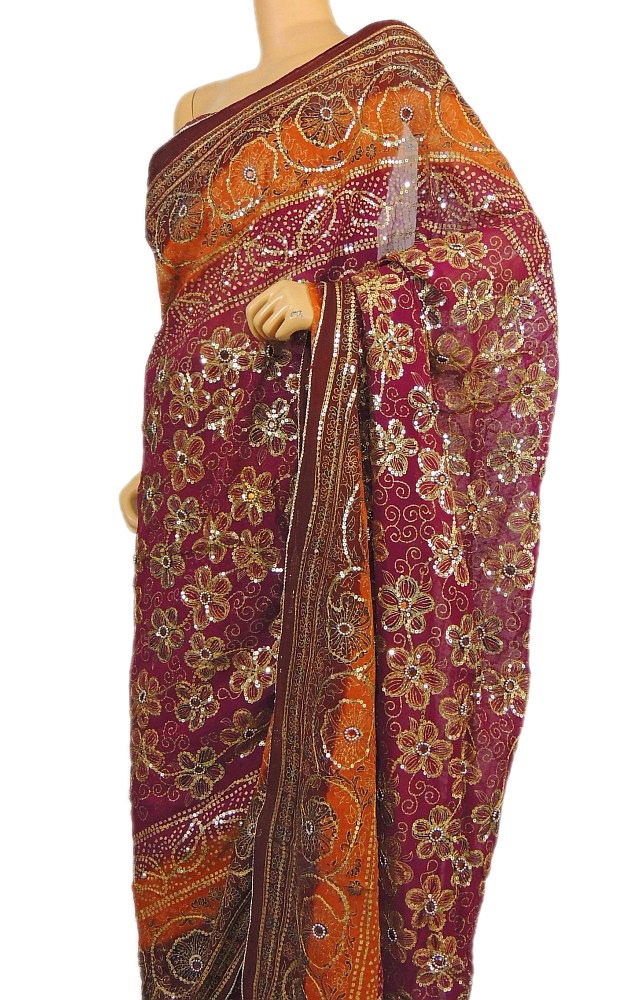 Magenta Party Saree Clothing Special Occasion Sequin