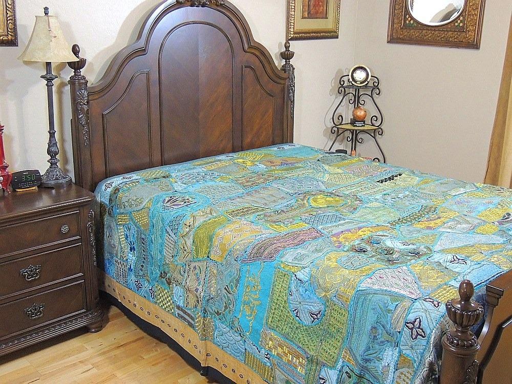 artisan handmade designer bedding embroidered indian