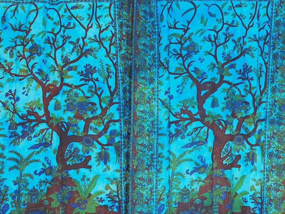 Exotic India Door Curtain Cotton Tree Of Life 2 Fabric Tab