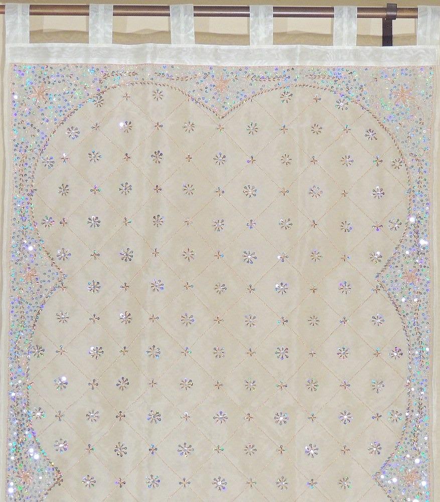 ... Curtains Ivory Beaded Decorative Designer Indian Panels 96in | eBay