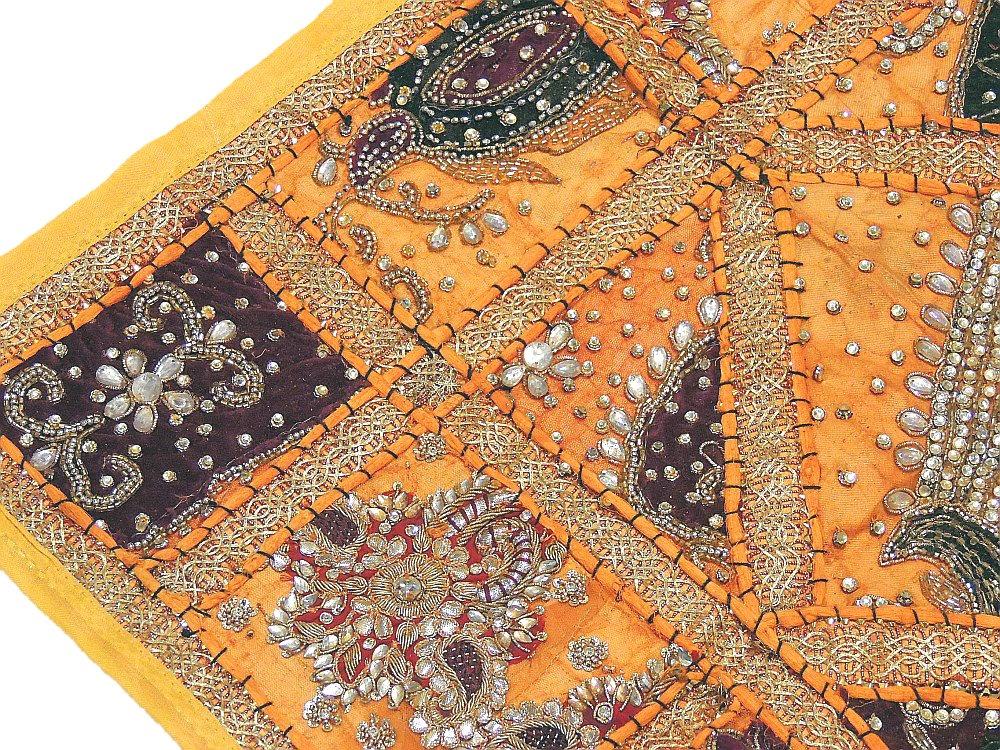 Orange Floor Luxury Pillow Cover Indian Decorator Tapestry