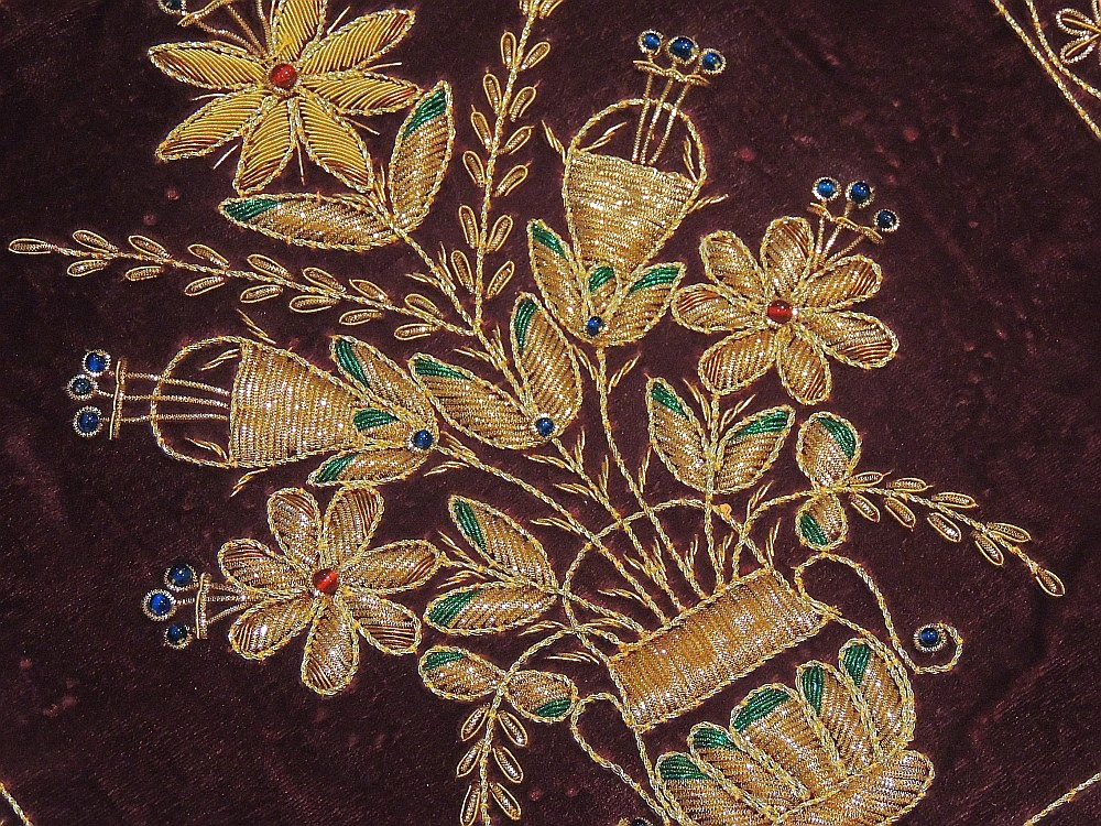 Beautiful Indian Couch Pillow Gold Zardozi Embroidered Unique Decorative Cushion | EBay