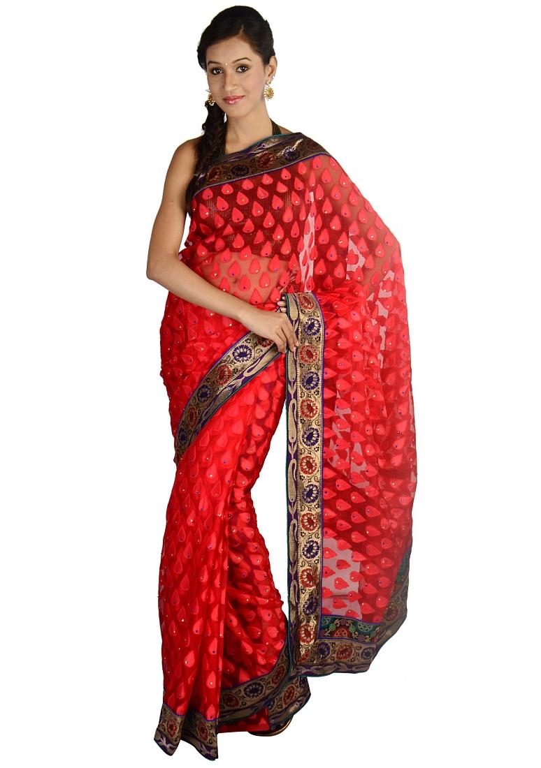 Trendy Red Designer Sari Exclusive Brasso Saree Indian