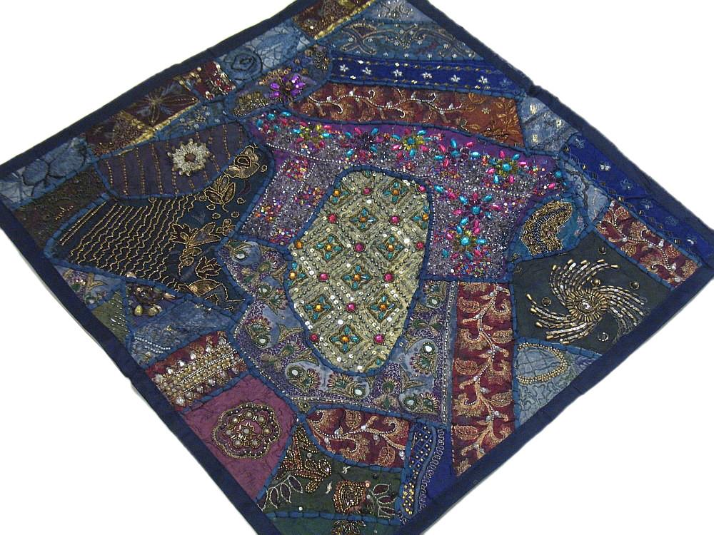 Large Square Floor Pillows : Decorative Blue Large Pillow Square Sari Bollywood Stylish Indian Floor Cushion eBay