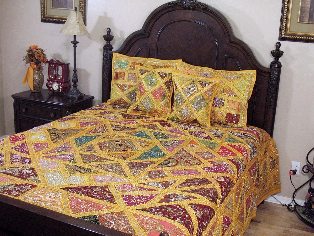 Kundan indian decor bedding 5p handmade decorative sari for Handmade decorative items for bedroom