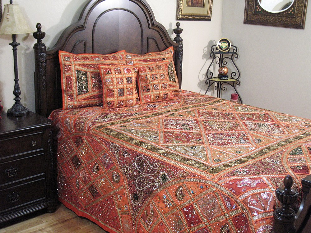 Orange Exotic Sari Duvet 5p India Inspired Bedding Luxurious Designer Collection Ebay