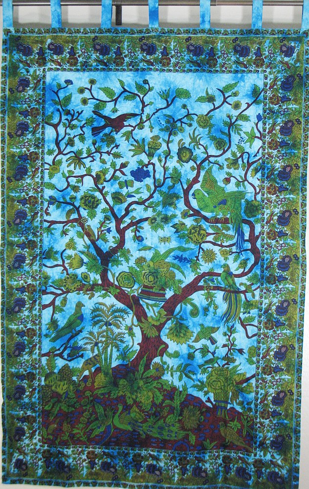 Life Tapestry Cotton Fabric Print Large Decorative India Wall Hanging