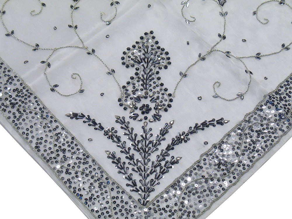 Sheer Organza White Tablecloth Designer Indian Beaded