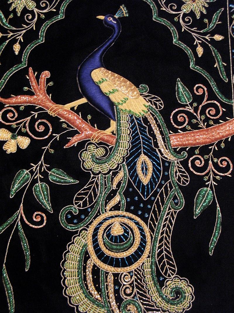Peacock Wall Hanging Rug Jewel Carpet Kashmir Hand
