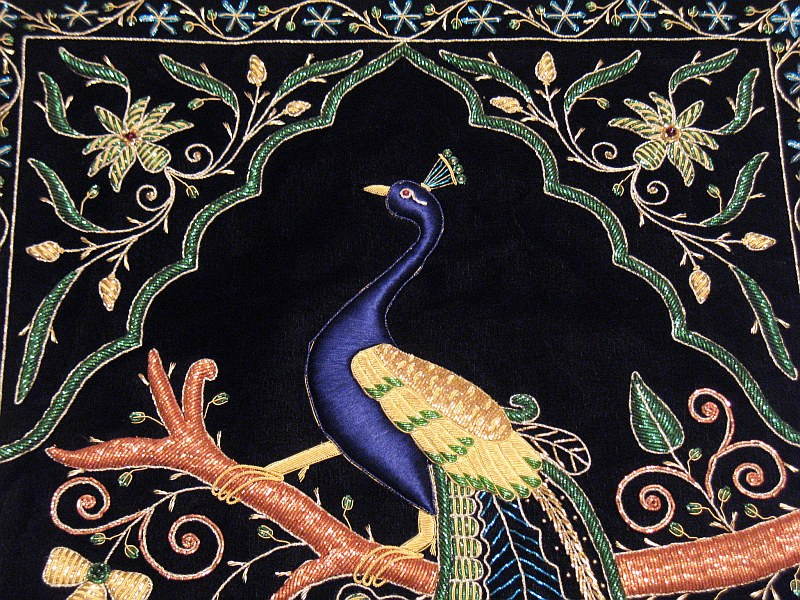 Peacock Wall Hanging Rug Jewel Carpet Kashmir Hand Embroidery Indian ...
