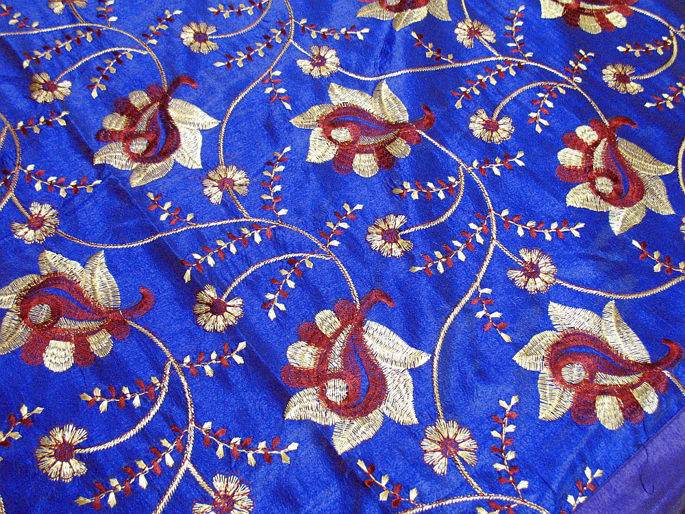 French Blue Beaded Decorative Sari Floor Pillow Cover