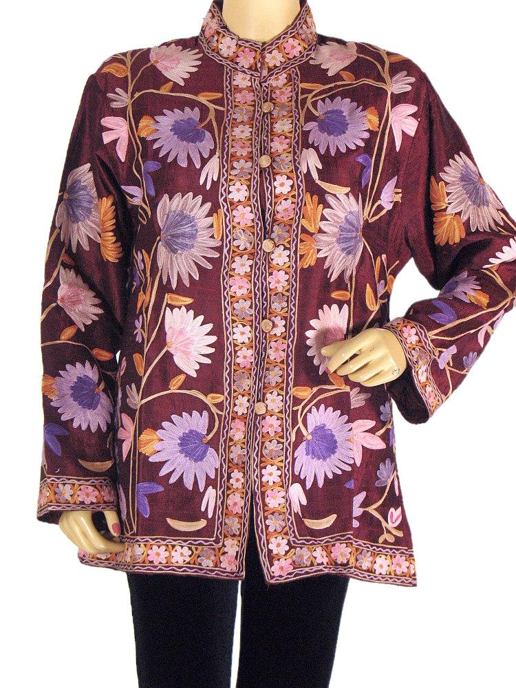 Maroon Ladies Jacket Dress Full Embroidery 100% Silk Handmade Coat Clothing L | EBay