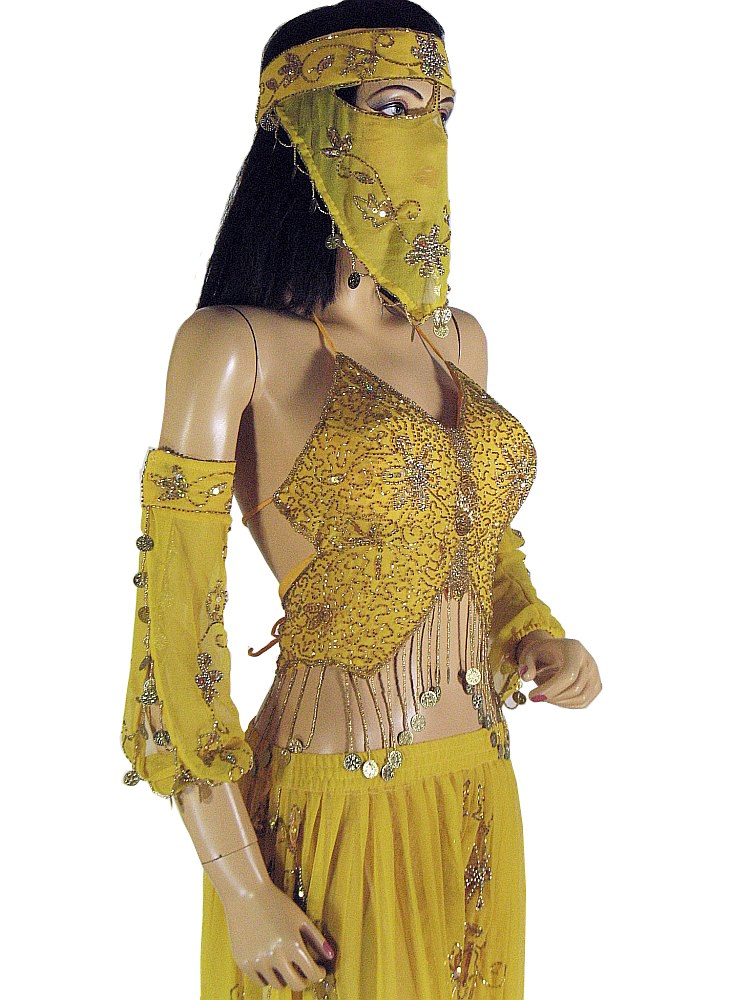 Yellow Belly Dancing Outfit Lyrical Dance Dress Harem