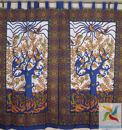 Tie Top Curtain Panels Tree Print Curtains