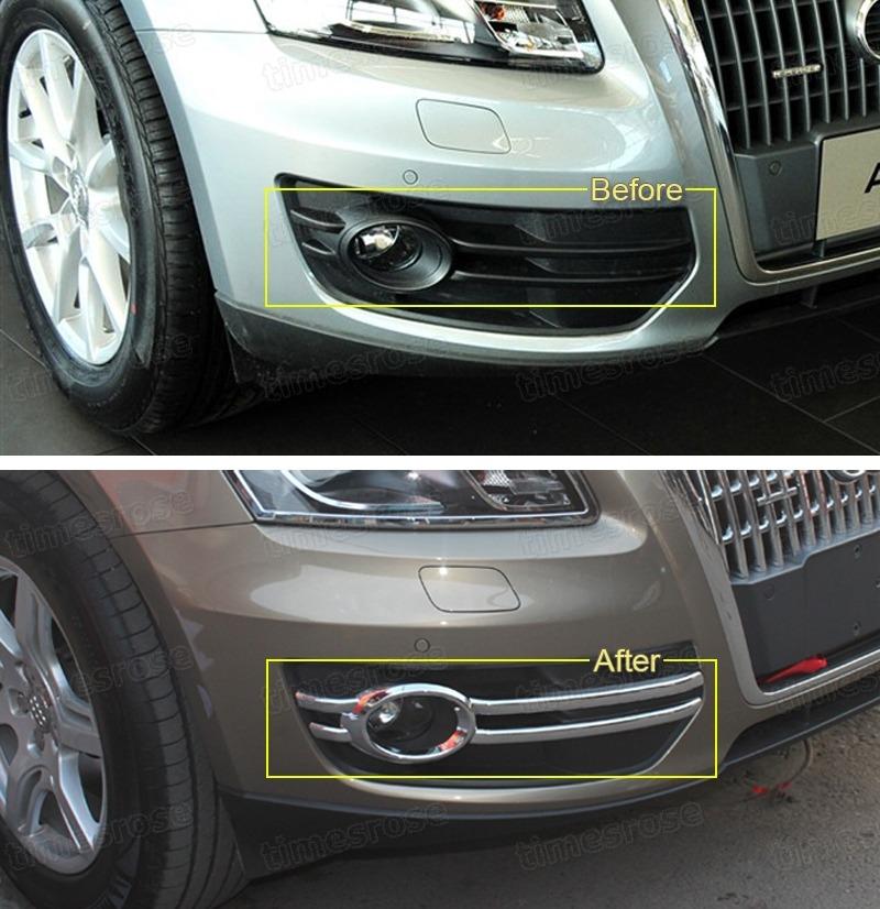 Chrome Front Fog Lamps Light Frame Cover Trim Fit For Audi