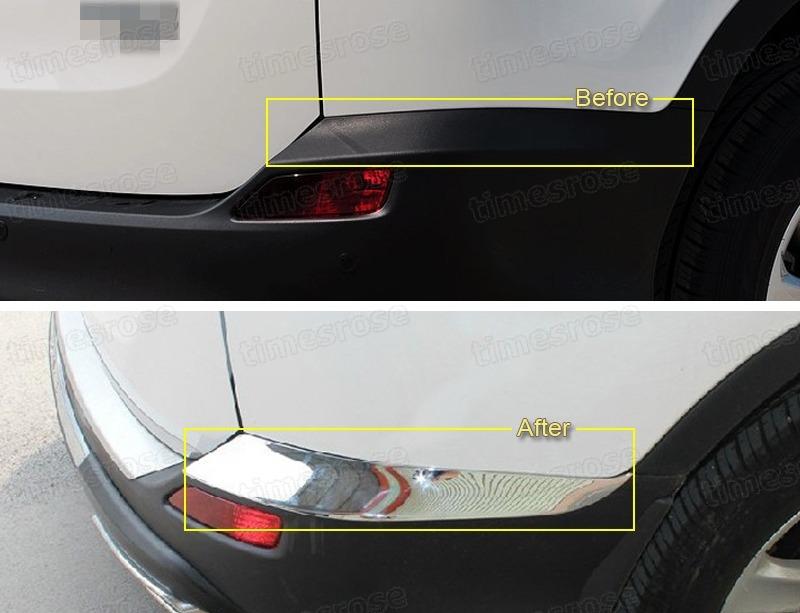 chrome rear bumper corner protector cover trim fit for toyota rav4 2013 2014 ebay. Black Bedroom Furniture Sets. Home Design Ideas