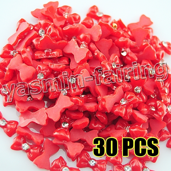 30 x DIY 3D Nail Art Bowknot CZ Rhinestone Decoration Acrylic Red #610