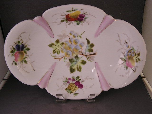ANTIQUE-PORCELAIN-H-P-FRUIT-LARGE-OVAL-BOWL