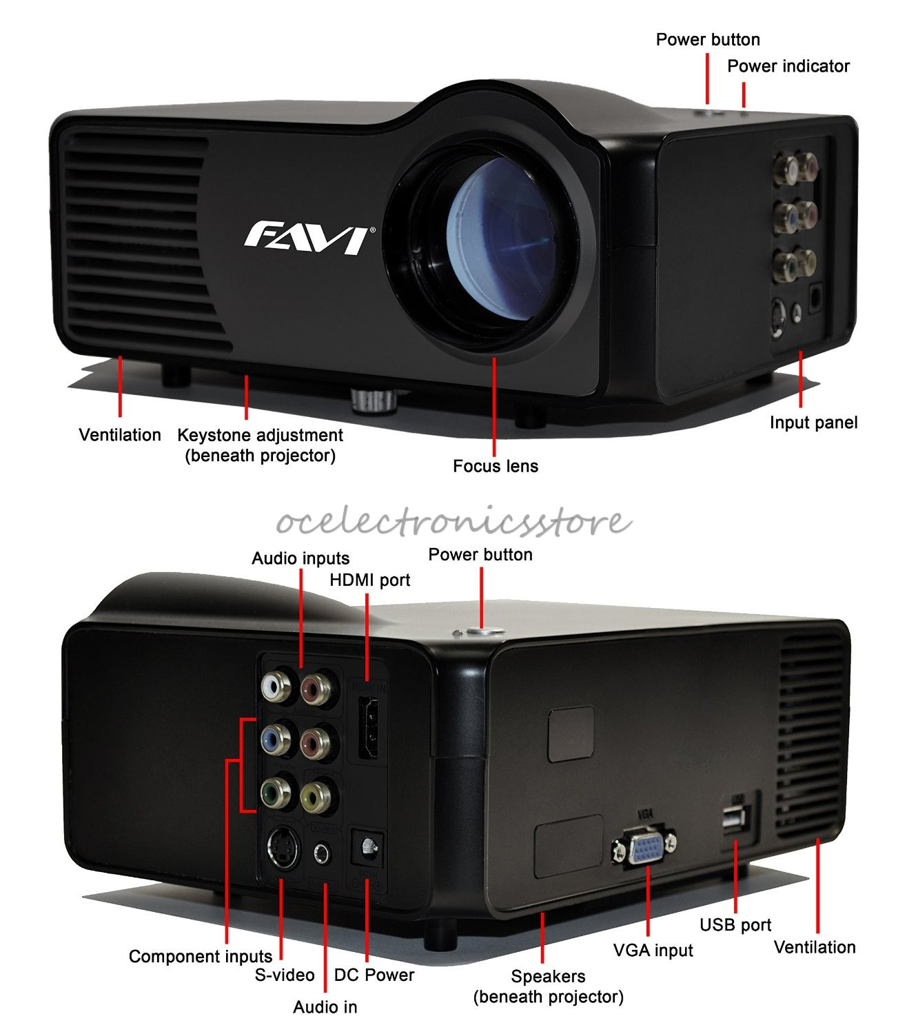 H60 Portable 3d Led Projector Lcd Multimedia Home Cinema: FAVI RioHD-LED-3 Portable Gaming LCD Projector