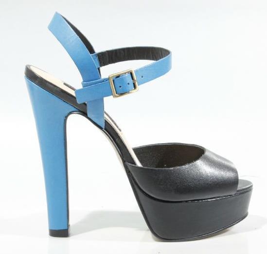 New Steven by Steve Madden Ravve Black Blue Leather Platforms Heels