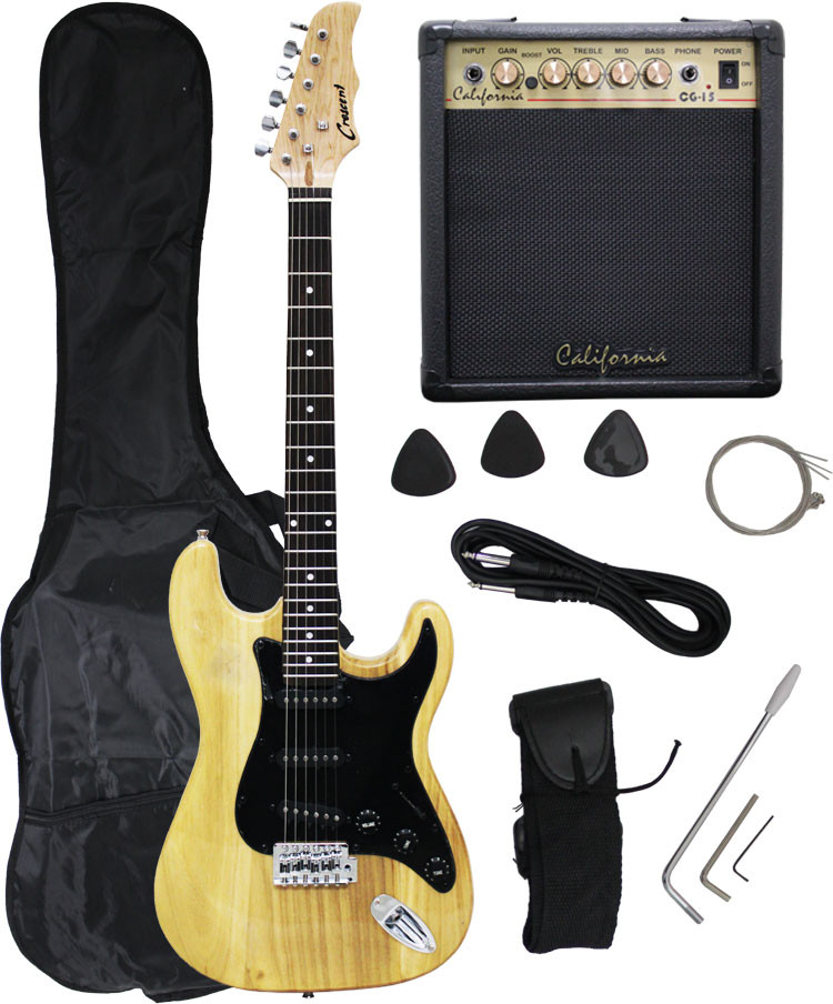 Crescent NATURAL Electric Guitar+15w AMP+Strap+Cord+Gigbag N