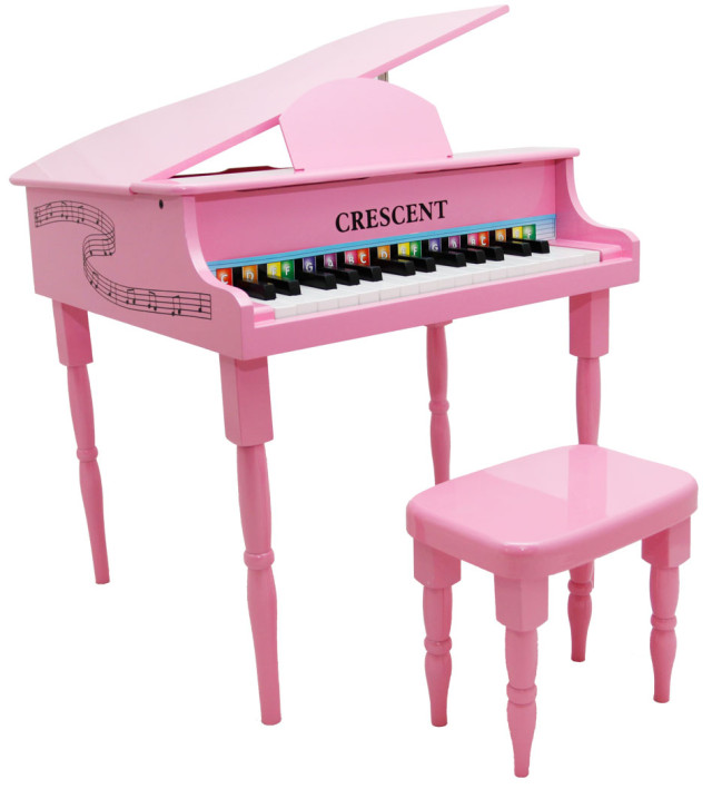 New Crescent 30 Keys Pink Baby Toy Grand Piano With Bench