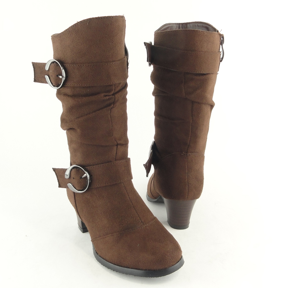 Girls-Slouchy-High-Heel-buckle-Boots-Brown-Faux-Suede-Sz-9-4-side-zip-kids-shoes