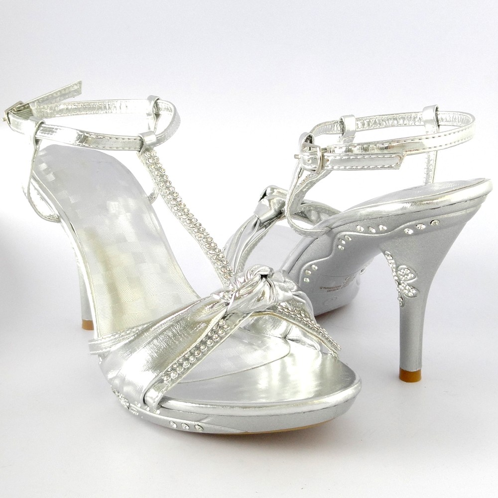 Sexy-Dress-Platform-High-Heels-Rhinestone-Silver-Sandals-Women-039-s-Party-shoes