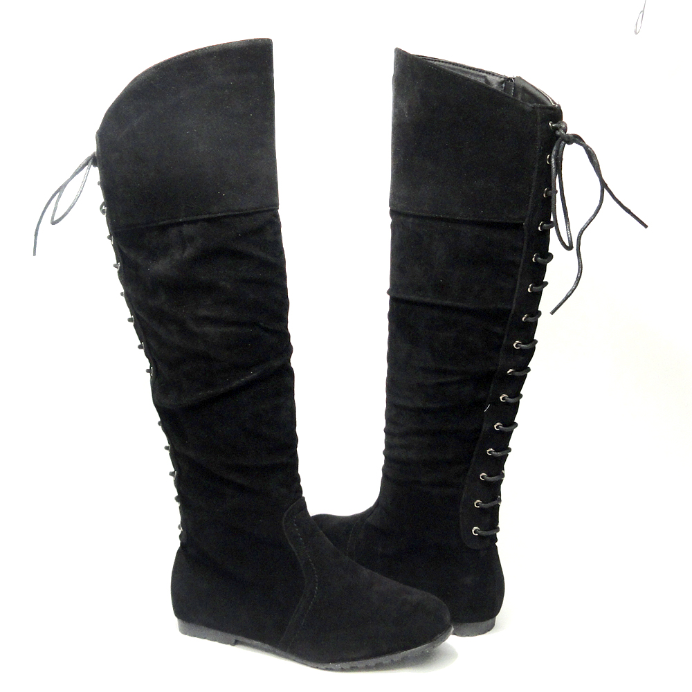 Womens-Knee-High-Lace-Up-Back-Suede-Flat-Boots-Black-Size-5-5-10