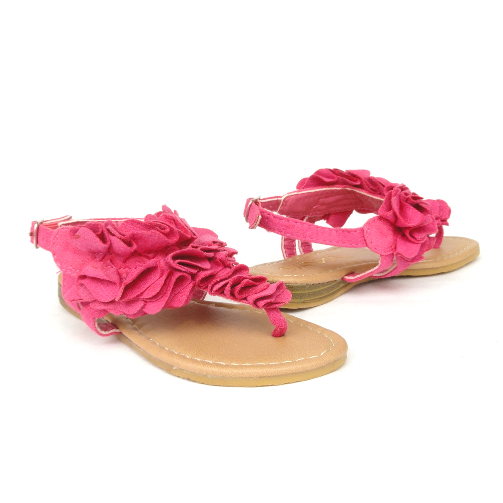 Girls-Ankle-Strap-Flat-Thong-Sandals-Fuchsia-Size-9-4-t-strap-sandals