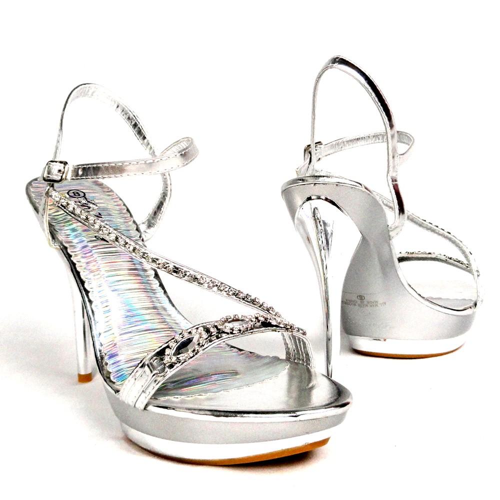 Women-Platform-High-Heel-Rhinestone-Z-Strap-Sandals-Silver-Party-Dress