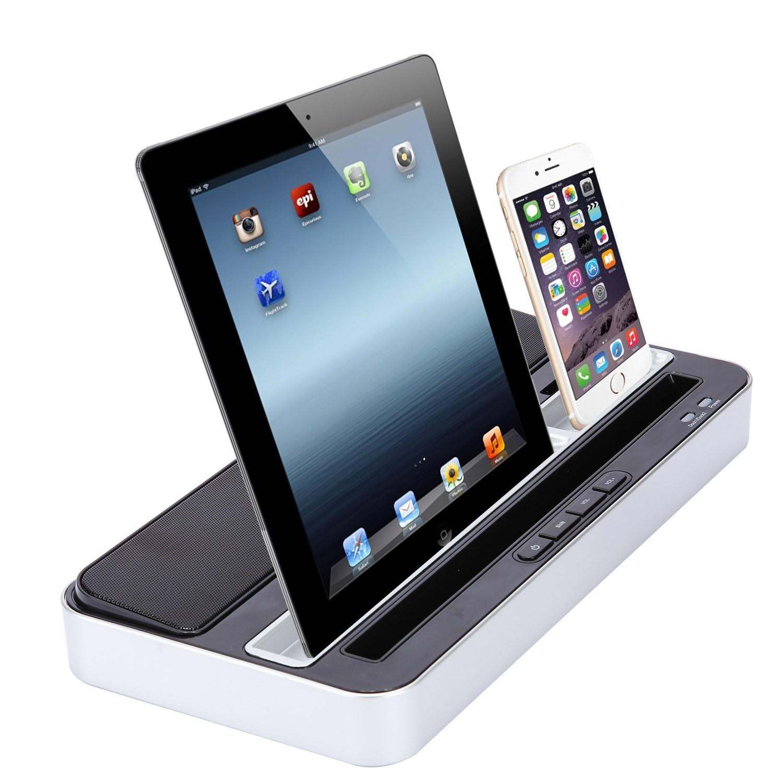 speaker charger docking dual station for iphone 6p 6 5s 5c 5 ipad mini samsung ebay. Black Bedroom Furniture Sets. Home Design Ideas