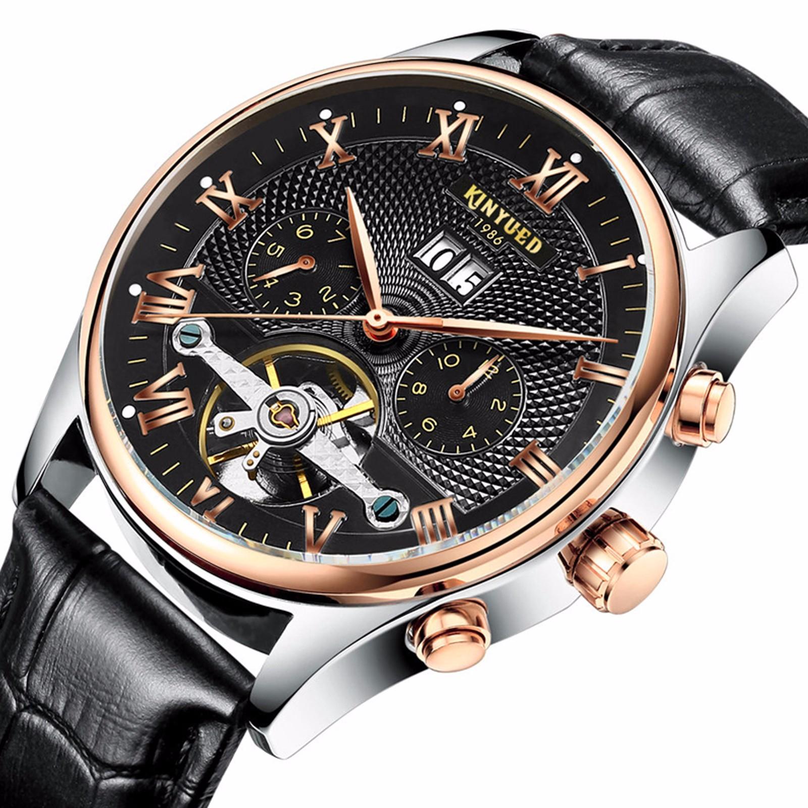 Wrist watches brands for mens - Kinyued Luxury Mens Genuine Leather Date Tourbillon Auto Mechanical Wrist Watch Item Description